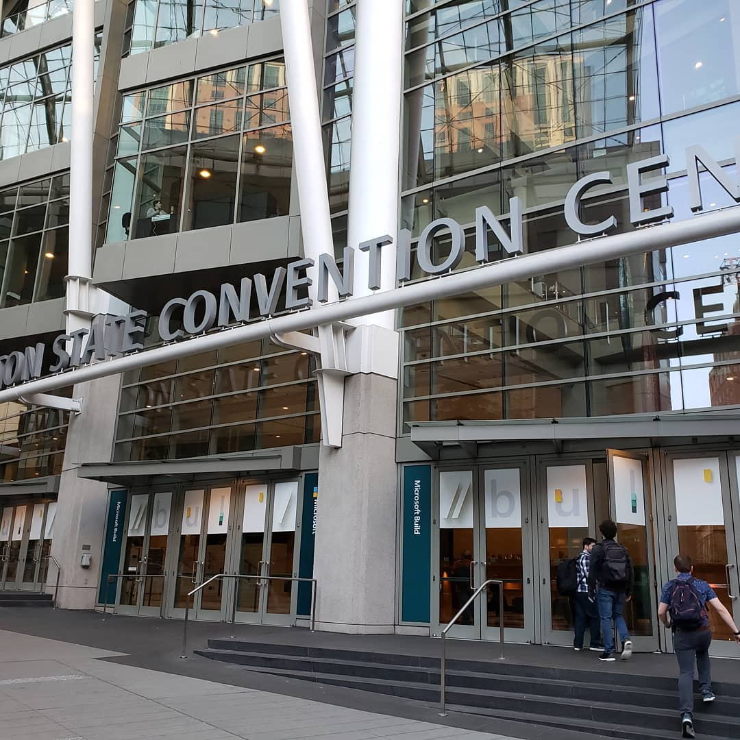 A photo of the entrance of the Washington State Convention Center decorated for Microsoft Build 2019.